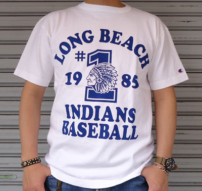 BUDD 別注 Champion U.S.A.T1011 プリントTシャツ(LONG BEACH INDIANS BASEBALL     1985)